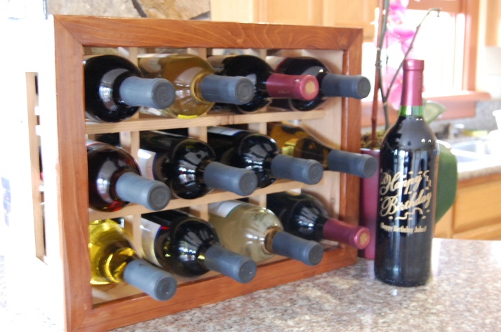 Wine bottle organizer with stained frame